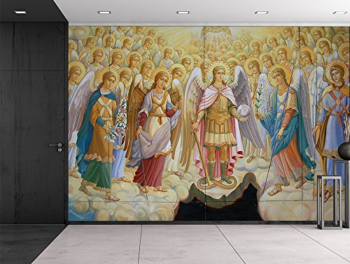 Fresco from Saint Michael's Cathedral in Kiev Ukraine Religious Christian Herald Angels Catholic Wall Mural
