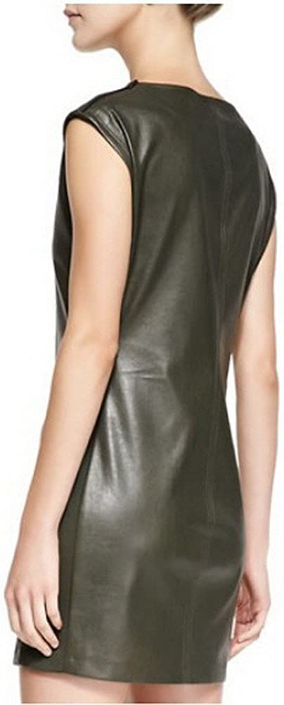 Angel/&Lily Scoop Neck Cap Sleeves Faux Leather Dress Plus 1x-10x
