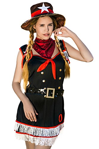 Adult Women Texas Ranger Costume Sheriff Hat Cosplay Role Play Wild West Dress Up (Small/Medium, Black, Red, (Country Girl Halloween Costumes Ideas)