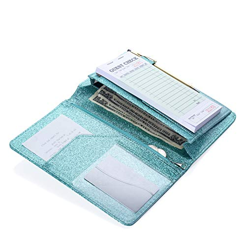 Sonic Server 5x8 Glitter Server Book Organizer with Magnetic Pocket, Zipper Pouch & Pen Holder for Waitress Waiter Waitstaff | Fits Apron Guest Checks Order Pad | Multiple Colors (Aqua Turquoise) ()