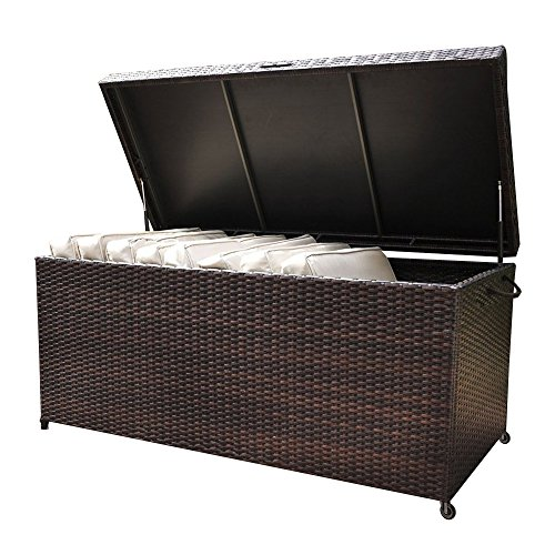 Outdoor Patio Wicker Storage Box – Resin Rattan Pool Storage Box with Lid, Garden Deck Bin, Multi-Purpose Furniture & Organizer with wheels & Container for Gardening Tools, Cushions, Pool Accessory