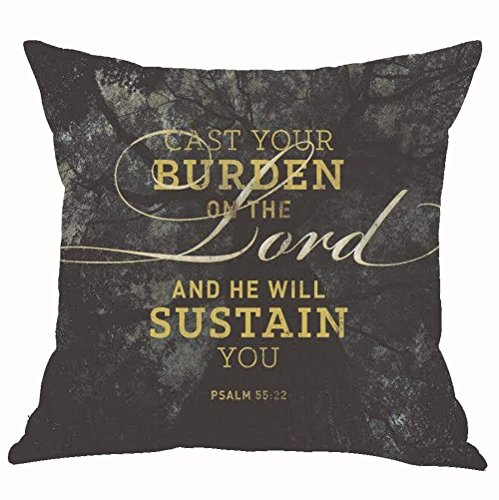 ASTIHN Forest Landscape Inspirational Motto Cast Your Burden On The Lord And He Will Sustain You Cotton Linen Throw Pillow Cover Cushion Case Home Chair Office Decorative Square 18 X 18 inches (C)