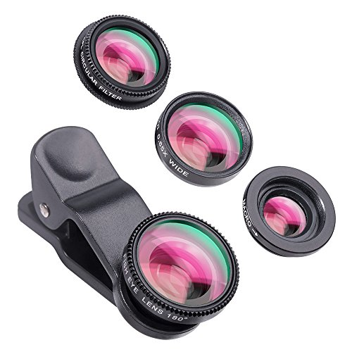 Luxsure Universal 4 in 1 Camera Lens Kit Fish Eye Lens + 2 in 1 Macro Lens + Wide Angle Lens + CPL Lens for iPhone 7 iPhone 6/6 Plus/6s/6s plus/5/5S,iPad Air,Samsung Galaxy/Note,Sony Xperia(Black)