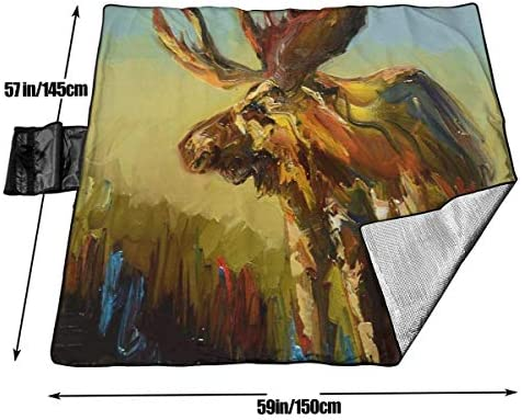 Stuoia di Campeggio Portatile Pieghevole di Campeggio di Tote della stuoia di Picnic dell'alce Animale della Coperta di Picnic