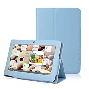 Slim Fit Folio Stand Leather Case Cover for 7 Inch Android Tablet(Q88) -9 Color Options(Light Blue)