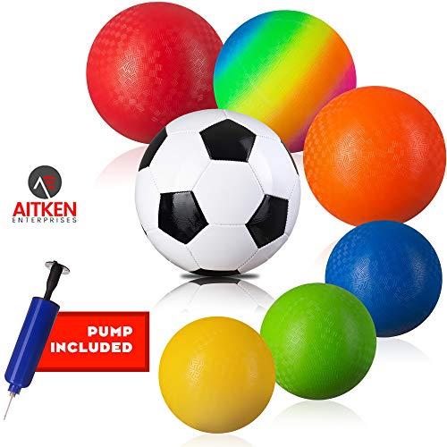 "- Playground Ball Set of 6 Rubber Balls for Kids, BONUS Soccer Ball, FREE Ball Pump – Official 8.5"" Ball for Dodgeball, Kickball, More – Recess Equipment Playground Balls by Aitken Enterprises"