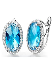 Fancy Luxury Jewelry Oval Shaped Sapphire Crystal Silver Rhodium Plated Earings Studs