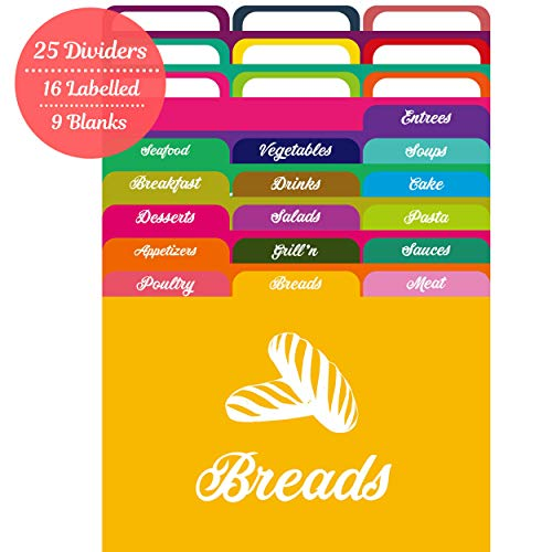Recipe Box Dividers - AKSHAYA Recipe Card Dividers Set - 25 Recipe Card dividers 4x6 with Tabs | 16 Labelled and 9 Un-Labelled Tabs | Index Card Dividers 4x6 | Helps Organize Recipe Cards in Recipe Box - Assorted Colors