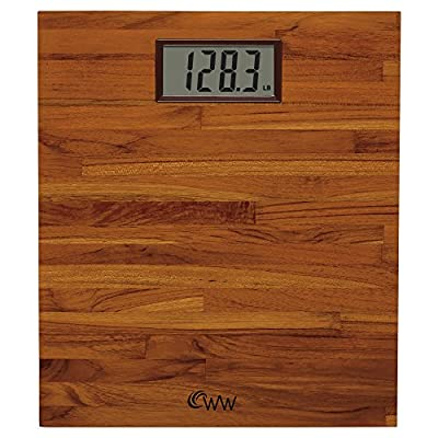 Weight Watchers by Conair Home Easy-To-Read SOLID TEAK Digital Bathroom Scale, WW69