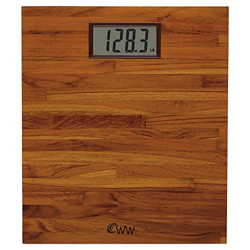 Weight-Watchers-by-Conair-Home-Easy-To-Read-SOLID-TEAK-Digital-Bathroom-Scale-WW69