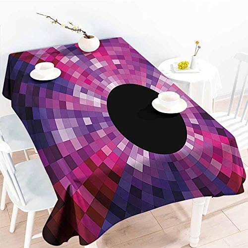 HRoomDecor 3D Printed Tablecloth,Abstract,Mosaic Pattern Design Vibrant Colors Tiles Modern Circular Geometric Graphic,Pink Purple Red 52