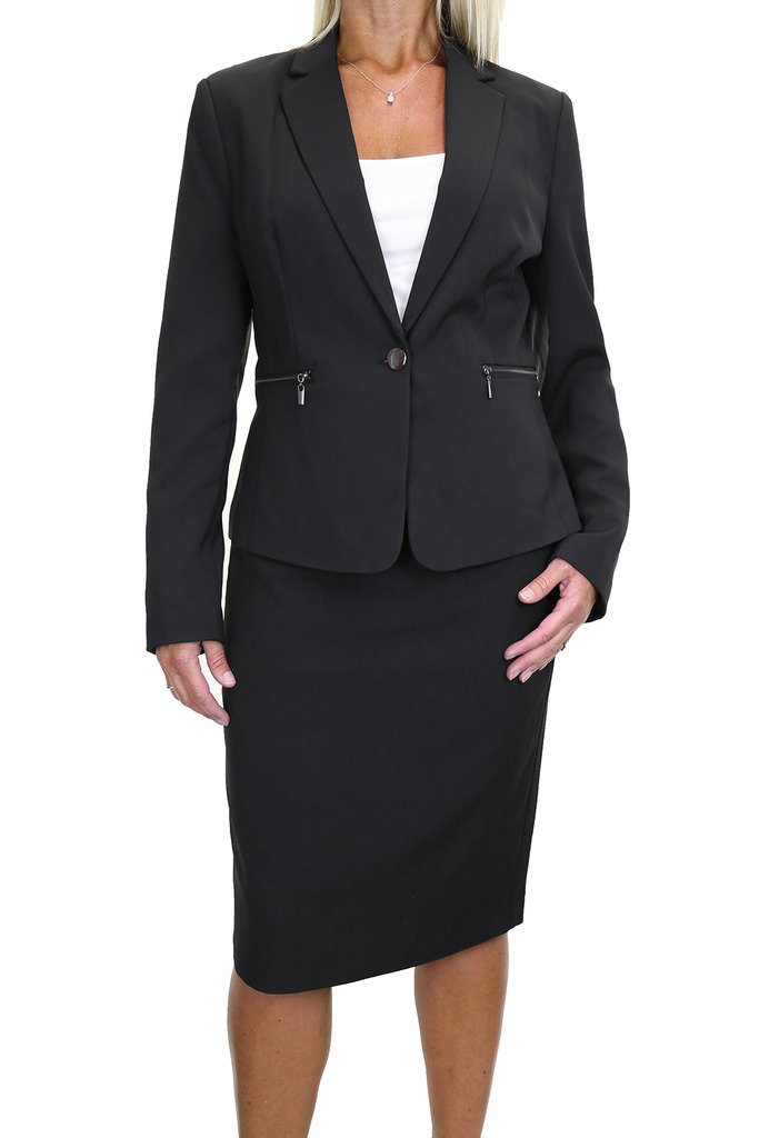 ICE (6487) Zip Pockets Business Lined Blazer Jacket Skirt Suit