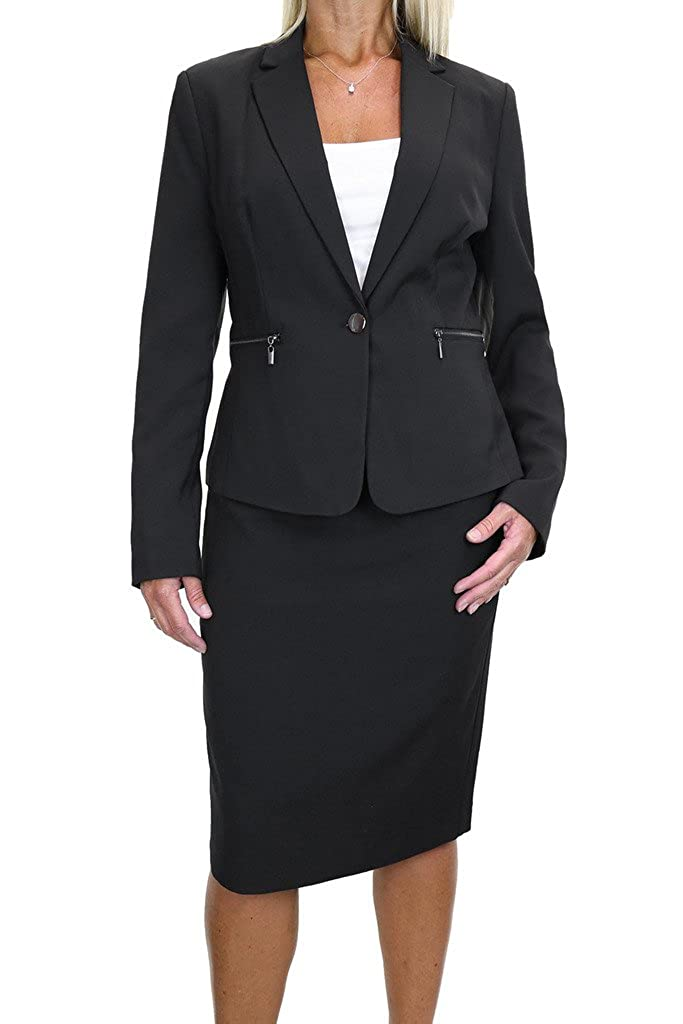 ICE (6487-1) Zip Pockets Business Lined Blazer Jacket Skirt Suit Black