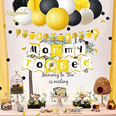 NICROLANDEE Bee and Honey Baby Shower Decoration Mommy to Bee Card Banner Garland Hanging Paper Lanterns Round Honeycomb Ball Gold Glitter Bumble Bee Confetti for Pregnant Party Decor (Bee): Health & Personal Care
