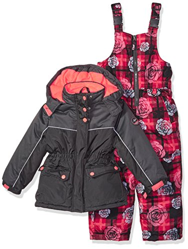 Pink Platinum Big Girls' Printed Super Snowsuit, Charcoal, 10/12