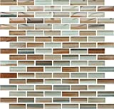 10 Sq Ft - Sunset Beach Hand Painted Glass Mosaic Subway Tiles