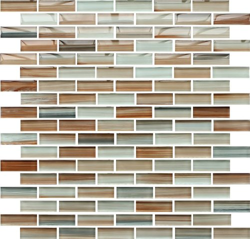 10 Sq Ft - Sunset Beach Hand Painted Glass Mosaic Subway Tiles by Rocky Point Tile