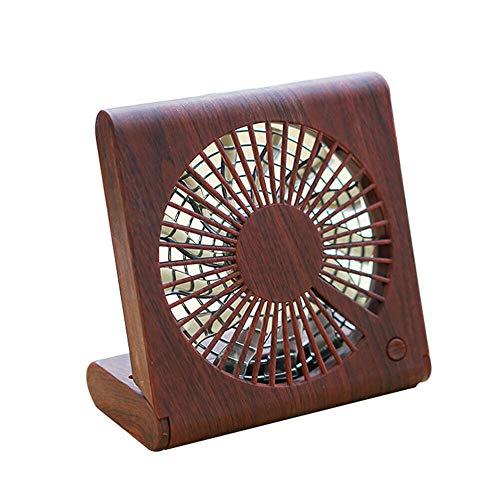 OrchidAmor Wood Grain Desktop Fan Portable Mini Silent USB Charging Electric Cooling Fan ()