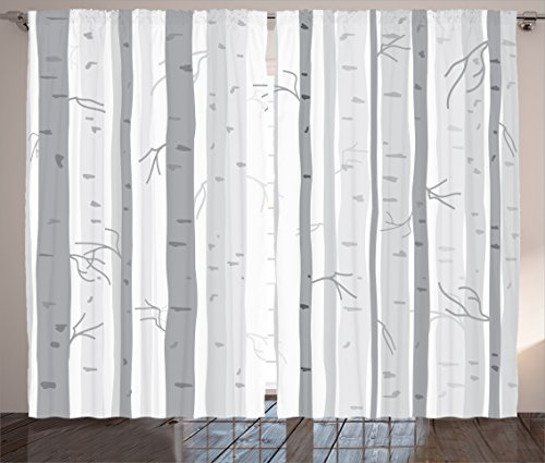 (Ambesonne Grey Decor Collection, Birch Trees in Autumn Fall Branches Forest with Soft Light Colors Modern Graphic Print Decor, Living Room Bedroom Curtain 2 Panels Set, 108 X 84 Inches,)