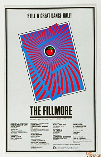 Jerry Garcia Carlos Santana Poster 1988 May Concert New Fillmore - Fillmore Poster Concert New