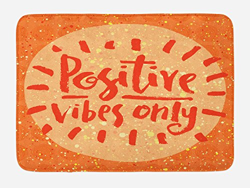 (Ambesonne Bath Mat, Positive Vibes Only Hand Lettering on Doodle Background, Plush Bathroom Decor Mat with Non Slip Backing, 29.5 W X 17.5 L Inches, Burnt Orange Cream and Vermilion)