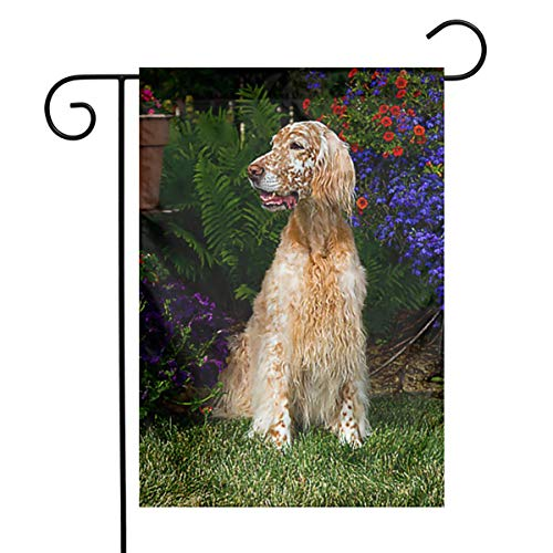 Female English Setter by Flowers Home Garden Flag Vertical Double Sided Spring Summer Decorative Rustic/Farm House Small Decor Yard Flags Set Party Flag for Indoor & Outdoor Decoration 12 X 18 Inch