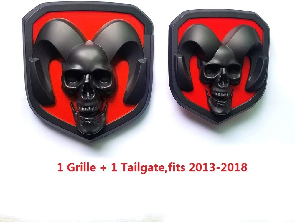 2pcs OEM Front Grille EMBLEM and Rear Tailgate BADGE 3D Skull Replacement for Ram 1500 2500 3500 Black fit 2013-2018