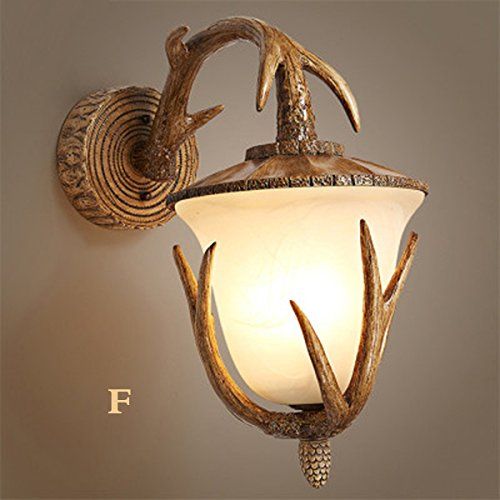 Retro Deer Horn Antler Resin Wall light Fixtures\,2 LED Candle Wall Antique Personality Dining Room Bedroom Cafe Wall Light Simple Creative Living Room Study Hallway Wall Sconce (Style : F)