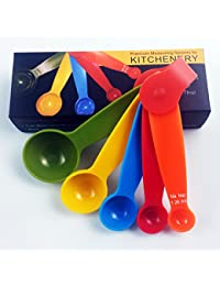 Gain Kitchenery Premium Quality Measuring Spoons - Set of 5 Strong, Heavy Duty, Multi-color Spoons - Dishwasher Safe... discount