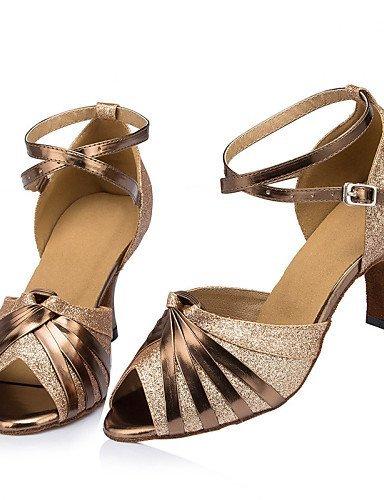 ShangYi Chaussures de danse ( Autre ) - Non Personnalisables - Talon Cubain - Cuir / Cuir Verni - Latine / Jazz , silver-us8.5 / eu39 / uk6.5 / cn40 , silver-us8.5 / eu39 / uk6.5 / cn40