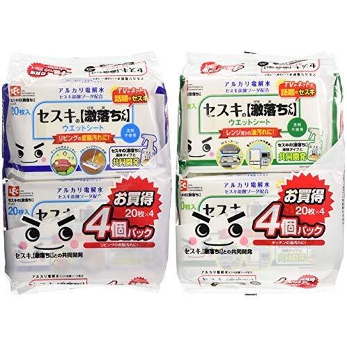 【세트 구매] 렛쿠(Lec)  거센 떨어진 군 바닥재 용 (4 팩) & 주방 (4 팩) 렉 (Lec) 청소 시트 청소포