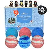 6 Kids Pirate Bubble Bath Bombs for Girls and Boys with Fun Surprise Mini-figure Toys Inside by Two Sisters Spa. XL Large Lush Spa Fizzies Gift Set. 99% Natural. Kid Friendly. USA Made.