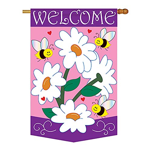 (Two Group - Daisies Spring - Everyday Floral Applique Decorative Vertical House Flag 28