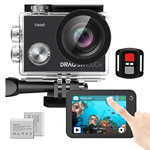 Dragon Touch 4K Action Camera Vista 5 WiFi 100ft Waterproof Sports Camera with Touch Screen Remote Control 2 Batteries and Mounting Accessories Kit