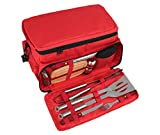 11 Piece Stainless Steel BBQ Grill Tool Set with 15 Can Water Proof Insulated Lunch Cooler Bag - Outdoor Barbecue Grill Accessories Kit Set for Camping trips and Tailgating - by ROMANTICIST
