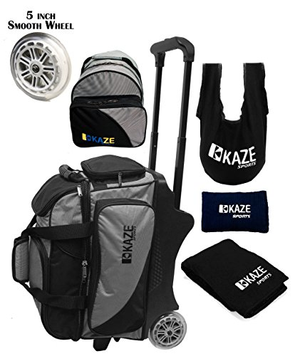 KAZE SPORTS 2 Ball Bowling Roller with Color Match Add On Spare Tote and Accessories Pack (Black)