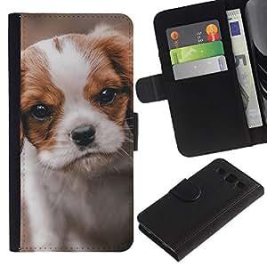 Graphic Case / Wallet Funda Cuero - Cavalier King Charles Puppy Dog Vignette - Samsung Galaxy S3 III I9300