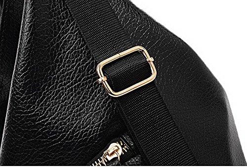 Dos Zippers Cartable Achats Femme À Mode Voguezone009 Sacs Noir gwIxOzPWq
