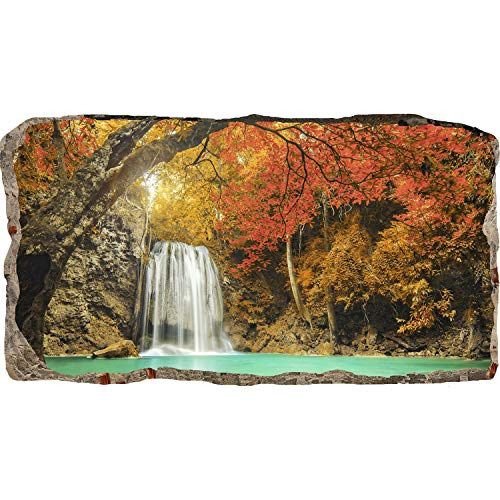 Startonight 3D Mural Wall Art Photo Decor Waterfall in the Forest Amazing Dual View Surprise Large 32.28 inch By 59.06 inch Wall Mural Wallpaper for Living Room or Bedroom Landscape ()