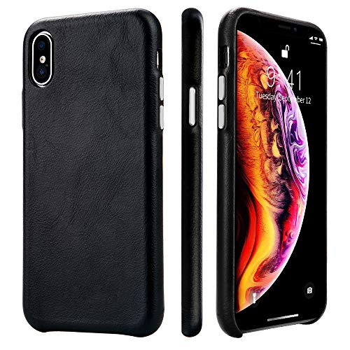 - TOOVREN iPhone Xs Max Leather Case iPhone Xs Max Genuine Leather Cover Case Protective Ultra Thin Vintage Anti-Slip Grip Shell Hard Back Cover for Apple iPhone Xs Max 6.5 Inch (2018) Black
