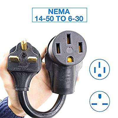 "NEMA 6-30 to NEMA14-50R Adapter 12"", Designed for ev Charging, Allows Your 6-30 plugged 16 amp Charger to use a 14-50 Outlet. Heavy Duty and Durable (NEMA6-30 to NEMA14-50R)"