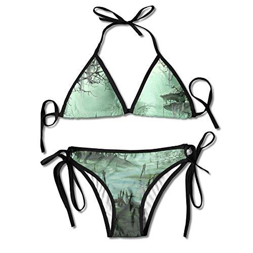 Fantasy Village Trees Swamp City Bikini Women's Summer Swimwear Triangle Top Bikinis Swimsuit Sexy 2-Piece Set