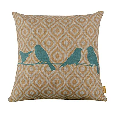 Cotton Linen Decorative Throw Pillow Case Cushion Cover (Blue Bird) 18  X18