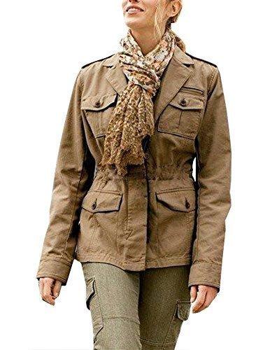 Chaqueta con Militar Estilo Mujer de Eddie Bauer - algodón, Camel Mezclado, 100%