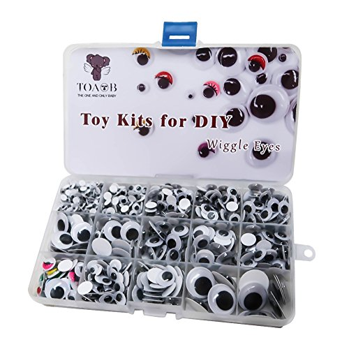 TOAOB 1012 Pieces Self-Adhesive Wiggle Googly Eyes 5mm to 20mm Round Oval Mix Sizes with Painted Eyelash DIY Scrapbooking Arts Crafts