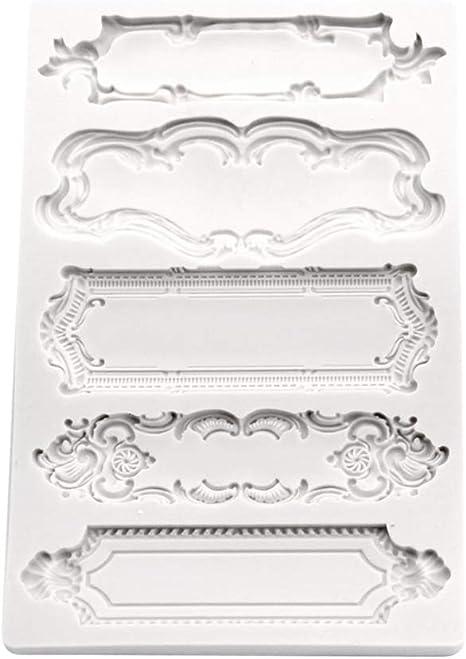 MD/_OT/_92 Door Frame Mold Set Antique Picture Frame Trim Silicone Mould Epoxy Resin Fondant Cake Baking Mold 10cm x 6cm