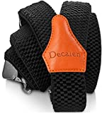 Decalen Mens Suspenders with Very Strong Clips Heavy Duty One Size Fits All Big and Tall Wide Adjustable and Elastic Braces Y Back Shape (Black I)