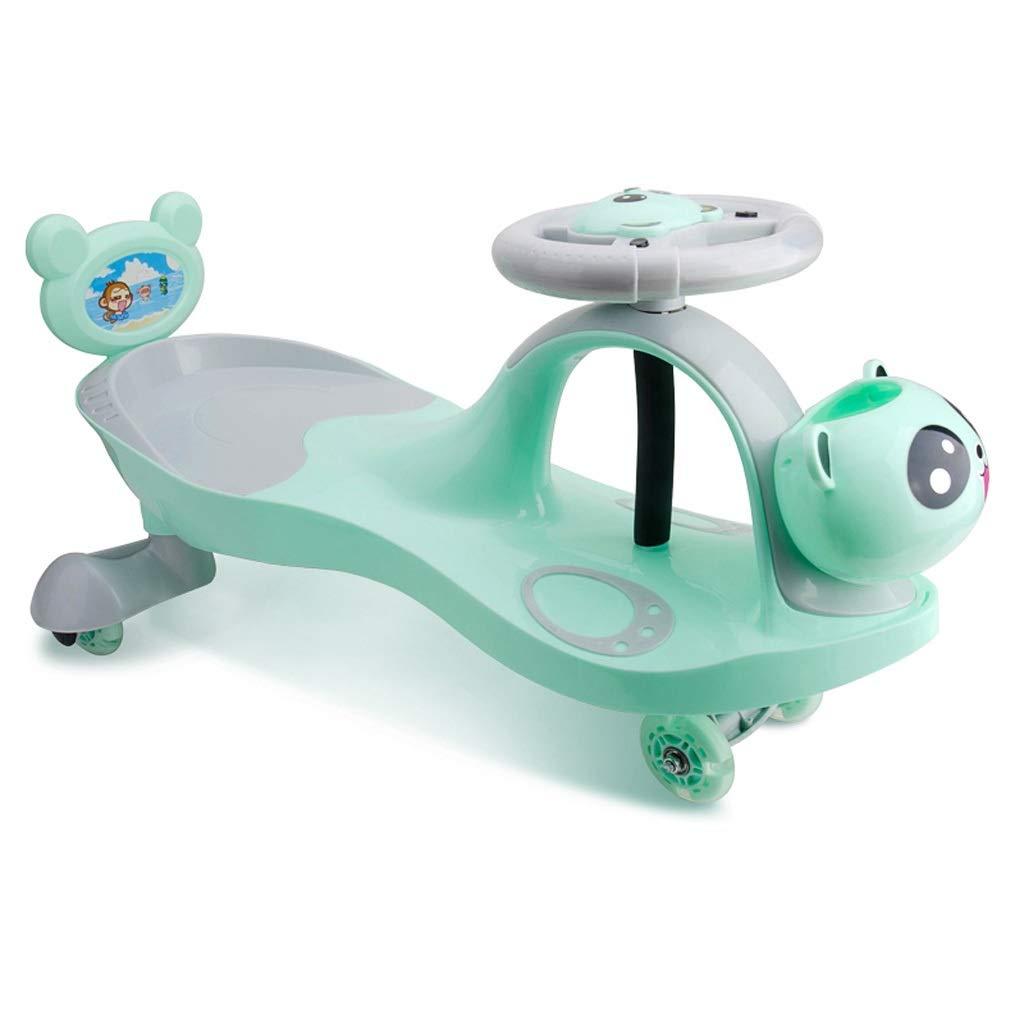 Kinder Twist Car, Kinder Spielzeug mit LED-Licht 1-3-7 Swing Wiggle Gyro Swivel Scooter Spaß Geschenk Fahrt Musik Lenkrad Tragbare Silent Flash Wheel Grün