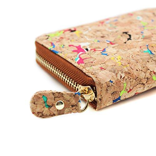 avec Multicolore Fermeture monnaie support boshiho Eco autour en Mode Poche Portefeuille Motif Vegan Cadeau portefeuille avec liège pièce Éclair Friendly de de In1g6xzqwn