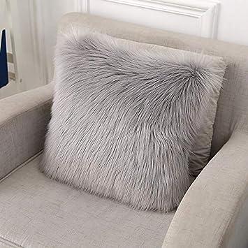 YDFYX Federa Cuscino,in Lana Artificiale Fodera per Cuscino 2Pcs Grigio, 45X45 cm Super Soft Fodera per Cuscino in Pelle Deluxe Home Decor Decorativo Camera da Letto Federa Divano